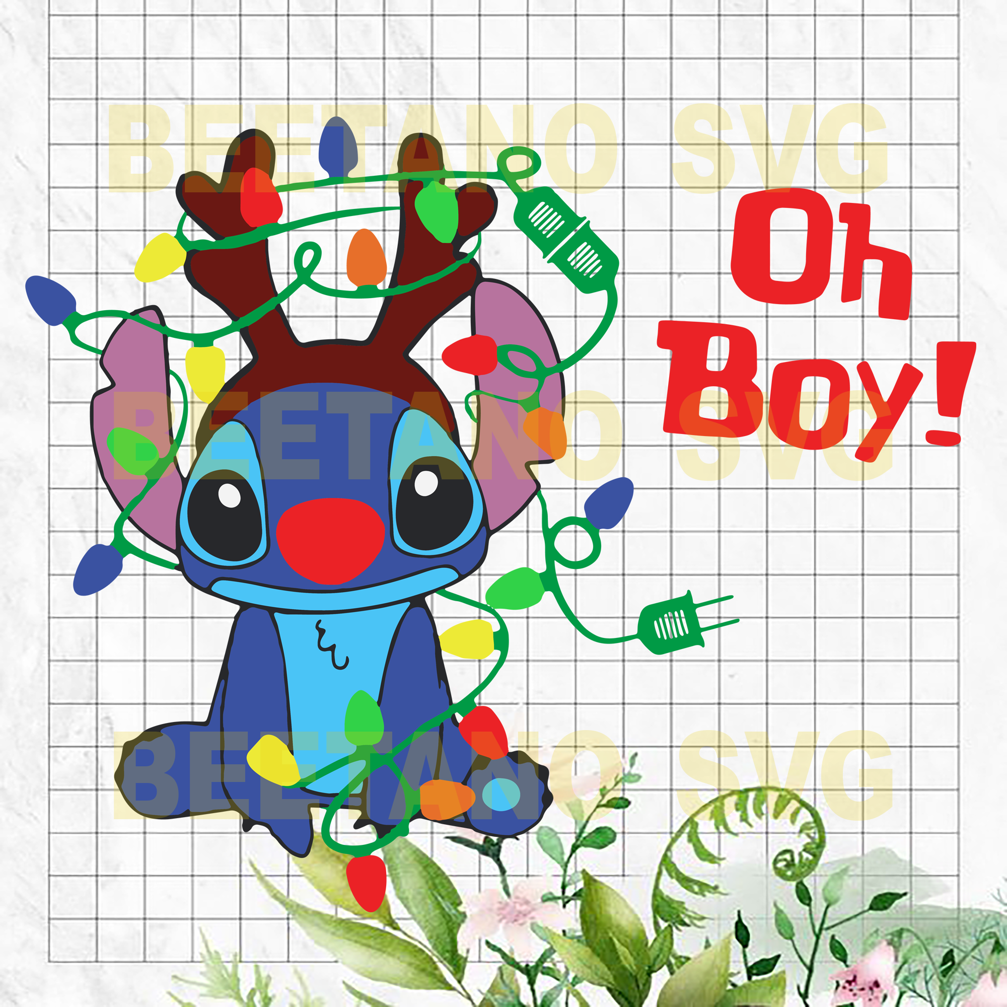 Oh Boy Christmas Lilo And Stitch Svg, Christmas Svg Files, Christmas Svg Cutting Files, Lilo And Stitch Cutting Files For Cricut, SVG, DXF, EPS, PNG Instant Download