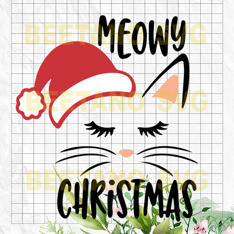 Meowy Christmas Svg, Cat Christmas Svg, Files For Cricut, SVG, DXF, EPS, PNG Instant Download