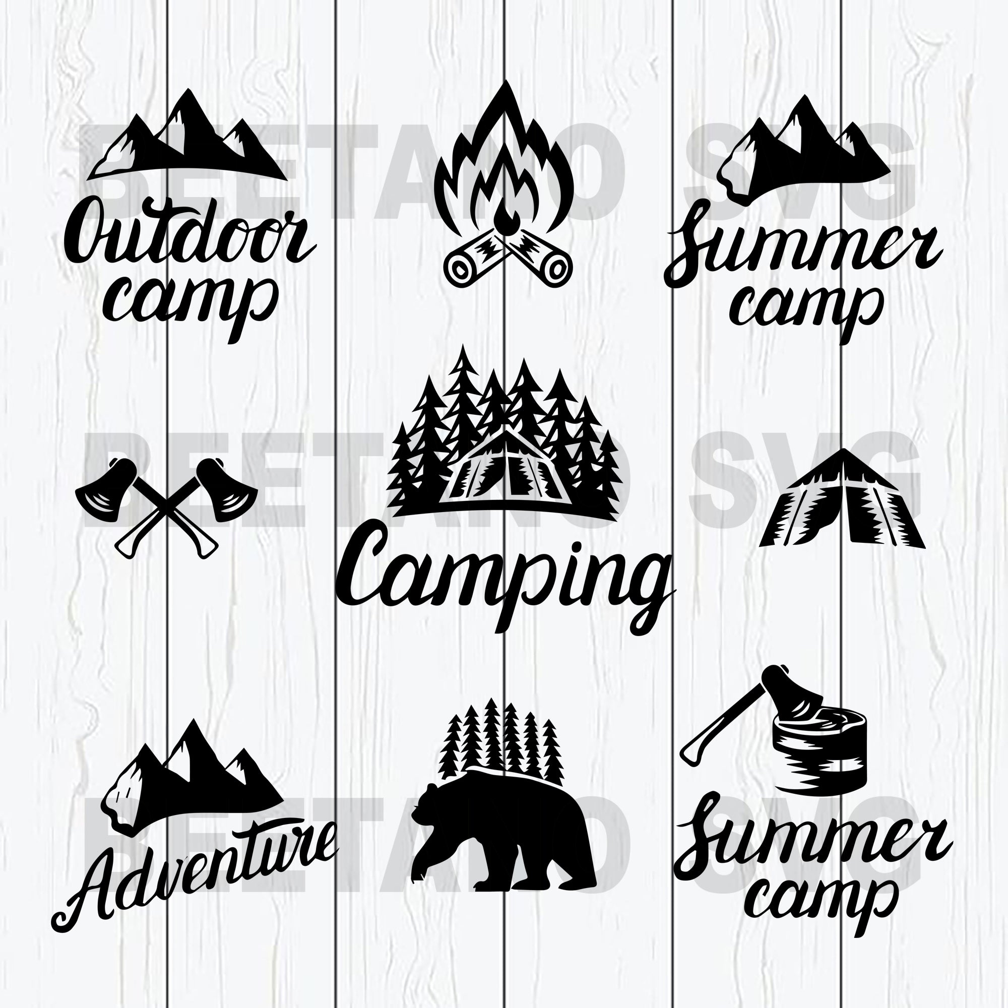 Summer Camping Life Svg Bundle, Camping Svg, Camp Life Svg File, Outdoor Camp Svg