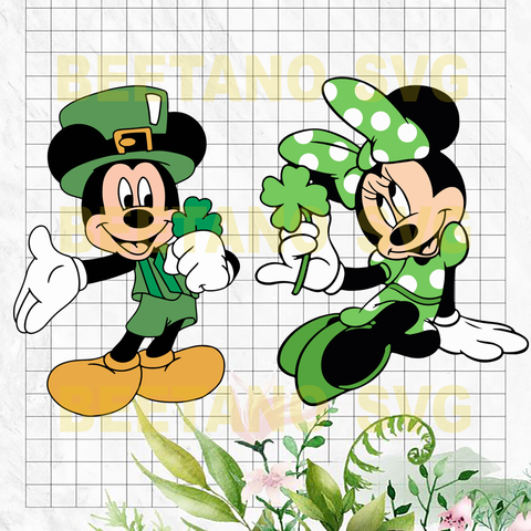 Mickey and Minnie mouse st patrick day lucky Files For Cricut, SVG, DXF, EPS, PNG Instant Download