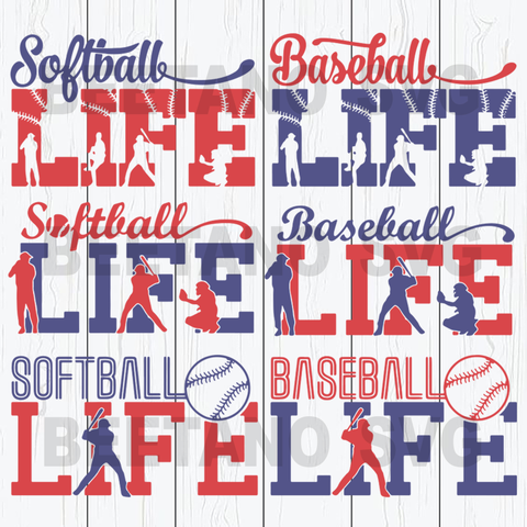 Sports bundle baseball softball life Cutting Files For Cricut, SVG, DXF, EPS, PNG Instant Download
