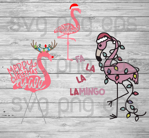 Merry Christmas Svg Bundle, Flamingo Santa Hat Svg, Flamingo Svg, Flamingo Svg Christmas Svg Bundle Files For Cricut, SVG, DXF, EPS, PNG Instant Download