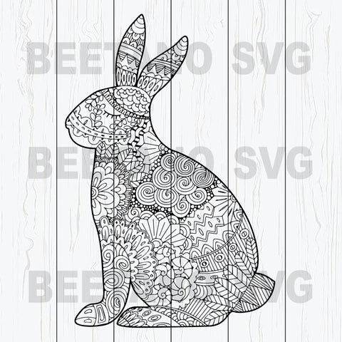Mandala Bunny Svg, Bunny Easter Svg Files, Mandala Rabbit Svg, Happy Easter Svg Files