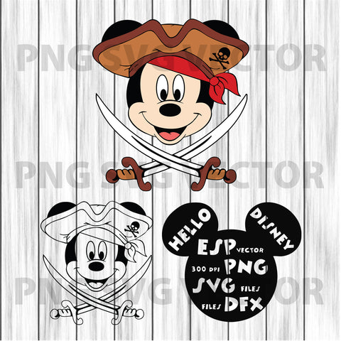 Pirate Mickey Svg, Mickey Face svg, Cute Mickey Svg, Mickey Clipart, Pirate clipart, Mickey clipart, pirate mickey cutting file