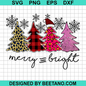 Christmas Leopard Plaid Tree Snowflake Merry And Bright