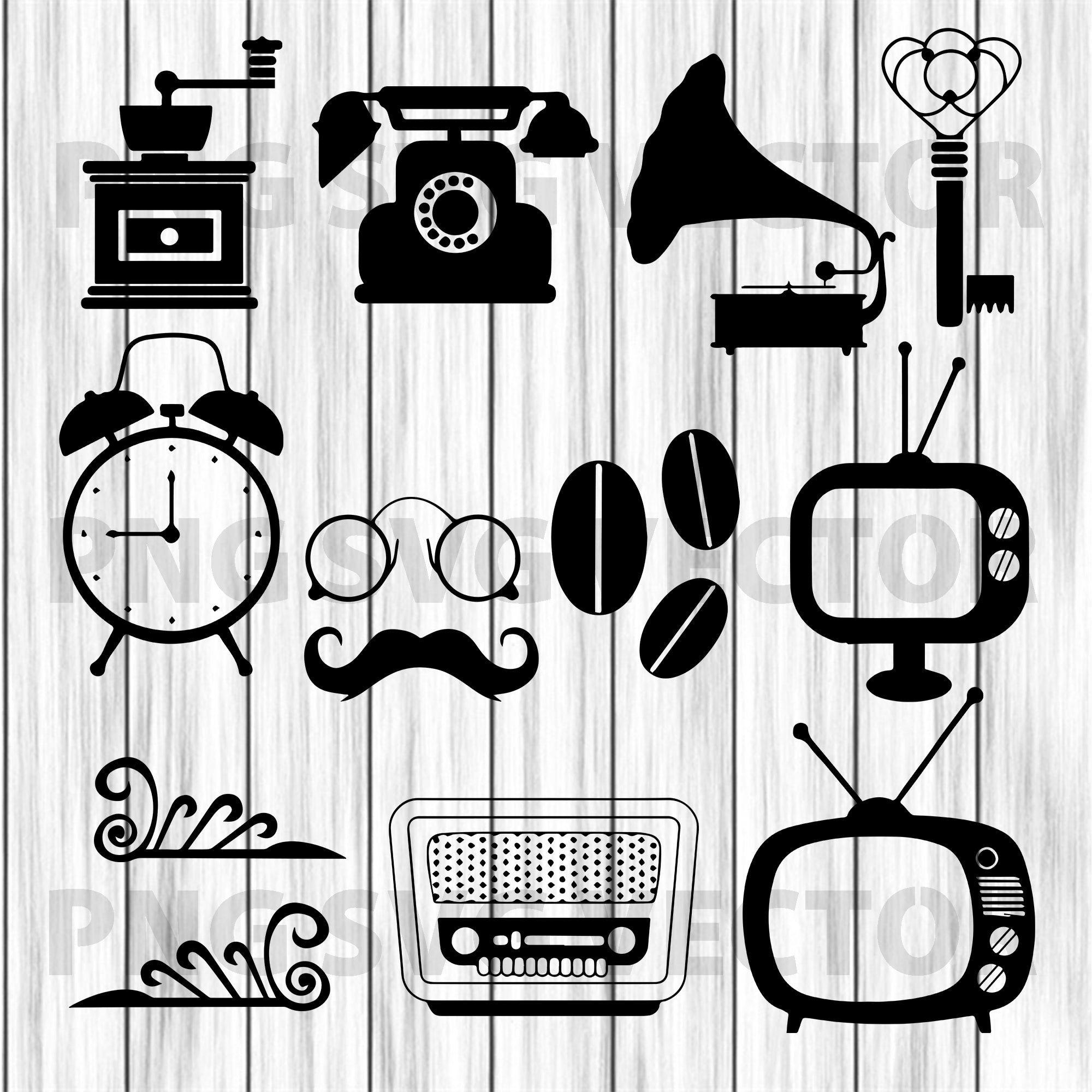 Vintage TV Set Svg, Television Set Svg, Vintage Svg Files, Vintage TV Cutting Files For Cricut, SVG, DXF, EPS, PNG Instant Download