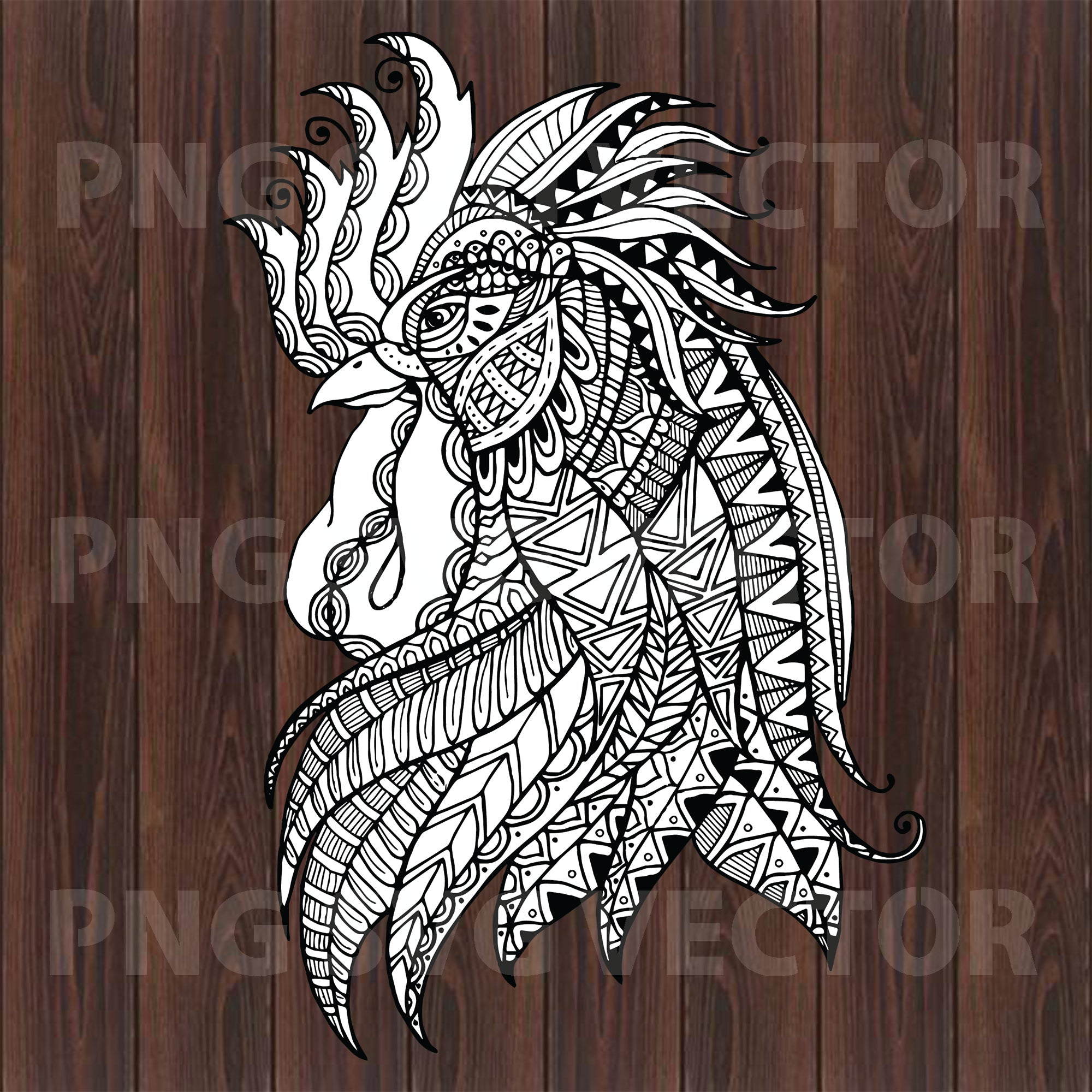 Mandala Rooster Head Svg, Mandala Rooster Svg, Mandala Svg, Rooster Svg Files, Mandal Rooster Cutting Files For Cricut, SVG, DXF, EPS, PNG Instant Download