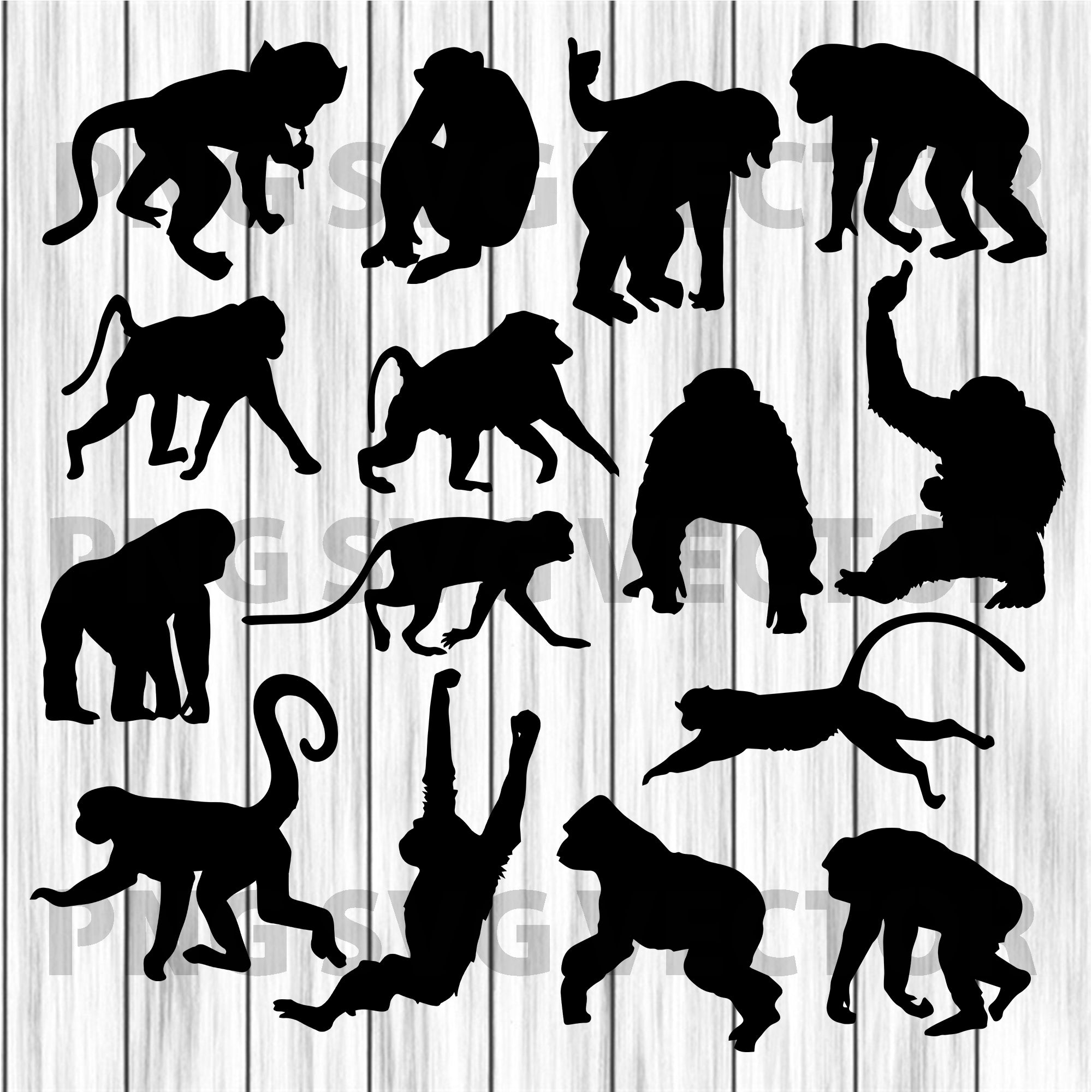 Monkey Svg Bundle, Monkey Svg, Monkey Vector, Monkey Clipart, Monkey Cutting Files For Cricut, SVG, DXF, EPS, PNG Instant Download