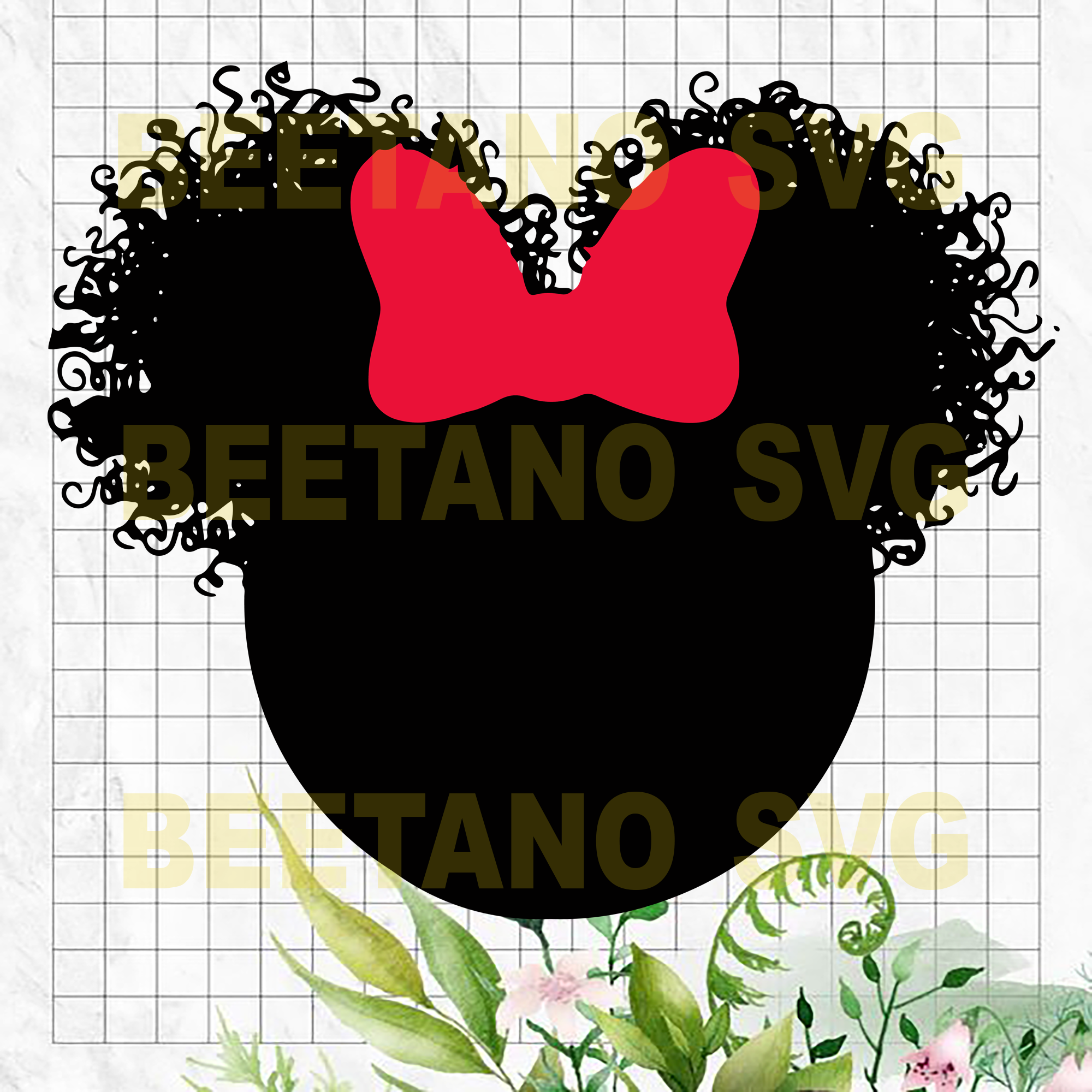 Mickey Afro Svg Files, Mickey Head Svg, Curly Hair Mickey Cutting Files For Cricut, SVG, DXF, EPS, PNG Instant Download