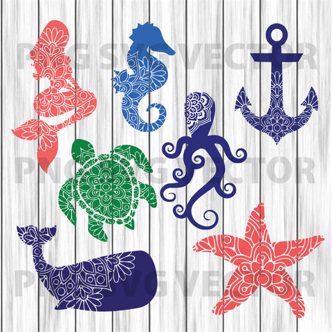 Mandala Sea creature svg, sea creature clipart, sea animal svg, sea creature cutting file, sea creature file for cricut