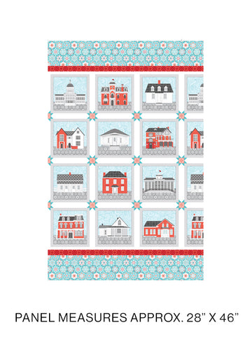 Amanda Murphy: Winter Village Blocks Panel Aqua
