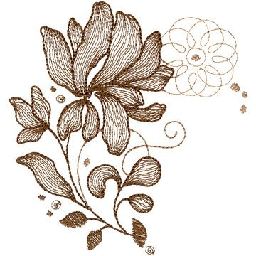 Sepia Petals Embroidery CD
