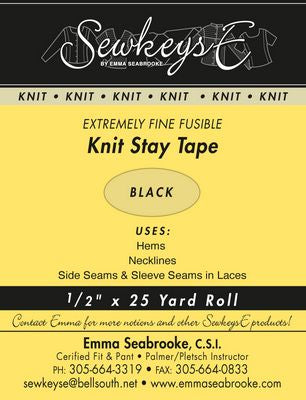 FUSIBLE KNIT STAY TAPE .5IN Black