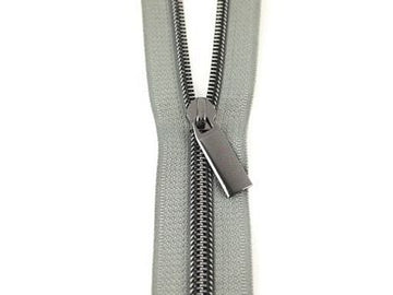 #5 ZIPPERS BY THE YARD GREY TAPE GUNMETAL TEETH
