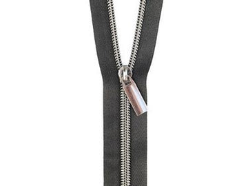 #5 ZIPPERS BY THE YARD BLACK TAPE GUNMETAL TEETH
