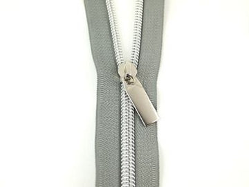 #5 Zippers by the Yard Grey Tape Nickel Teeth