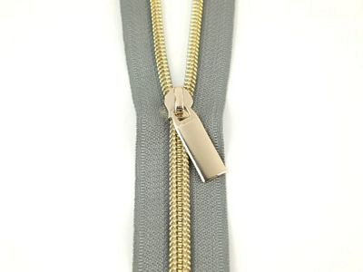 #5 ZIPPERS BY THE YARD GREY TAPE LIGHT GOLD TEETH