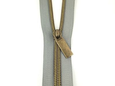 #5 ZIPPERS BY THE YARD GREY TAPE ANTIQUE TEETH