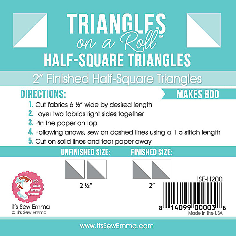 Triangles on a roll finished half square 2