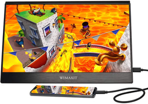 WIMAXIT M1331C 13.3Inch 1920x1080P IPS HDR Portable USB-C HDMI Monitor Ultra Thin Build in Speaker Dual HDMI Input Gaming Monitor Type-C Travel Monitor for Laptop,Cellphones - Wimaxit Official Store