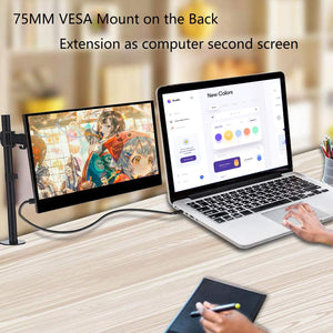 WIMAXIT M1332C 13.3 Inch Portable Type-c 1080P IPS Monitor with Reinforced Glass VESA Mount for Laptop Phone Xbox PS4,Switch