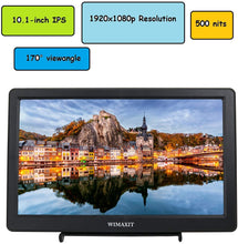 Load image into Gallery viewer, WIMAXIT M1020 10.1 inch HDMI VGA 1920x1080 Resolution Monitor for PC,Camera,CCTV Surveillance Monitors - Wimaxit Official Store