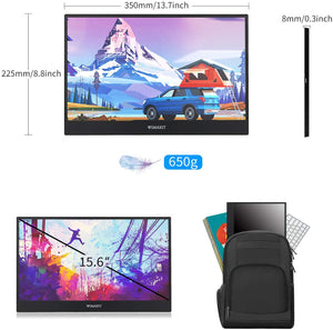 WIMAXIT M1562C 15.6 Inch Portable USB-C 1080p Full HD IPS HDMI Gaming Monitor for Laptop PC, Xbox PS4 Switch