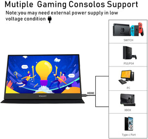 WIMAXIT M1562C 15.6 Inches Portable USB-C Gaming Monitor, 1080p Full HD IPS External Screen with Type-C Mini HDMI for Laptop PC Nokia 9 Pureview, Xbox PS4 Switch Indoor - Wimaxit Official Store