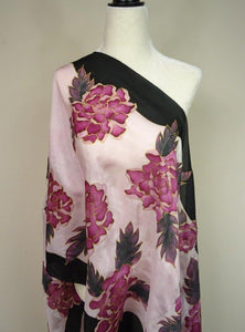 Hand Painted Burgundy and Black Large Floral Silk Shawl