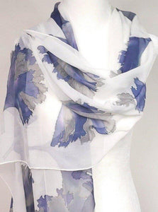 Hand Painted Blue and Grey Silk Shawl