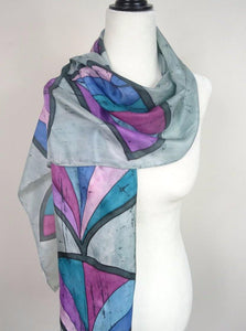 Hand painted lotus silk scarf in pink, purple, green and blue on gray background