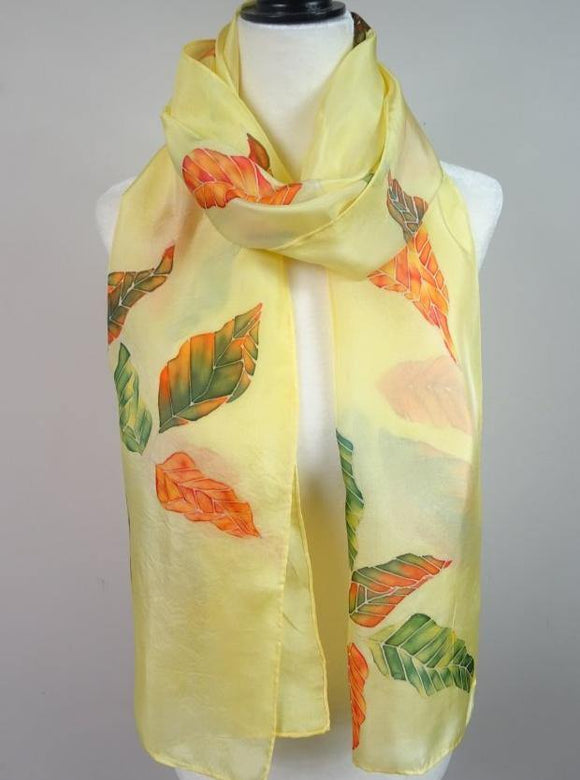 Hand painted autumn colourful leaves silk scarf