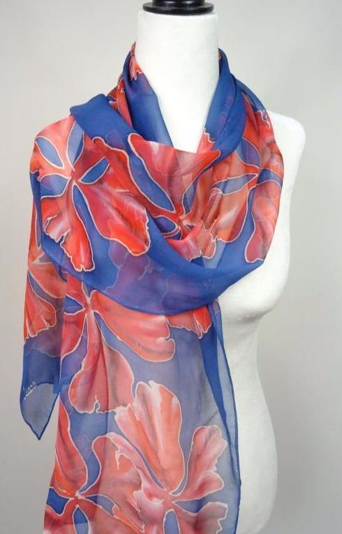 Red Floral Hand Painted Chiffon silk scarf. Red and Blue Chiffon Silk Scarf