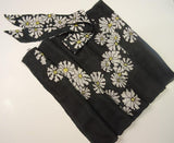 Hand Painted Floral White and Black Silk Scarf, with Matching Bag Scarf