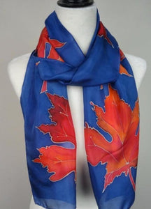 Hand Painted Red and Blue Maple Leaves Silk Scarf, Canadian Maple Leaf Silk Scarf