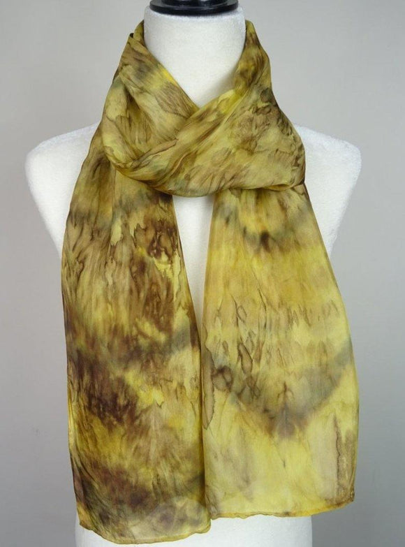 Hand Painted Gold, Green Gold and Brown Silk Scarf