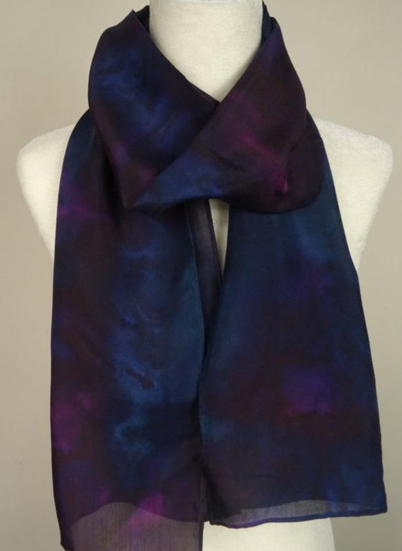 Blue, Green and Purple Hand Painted Silk Scarf