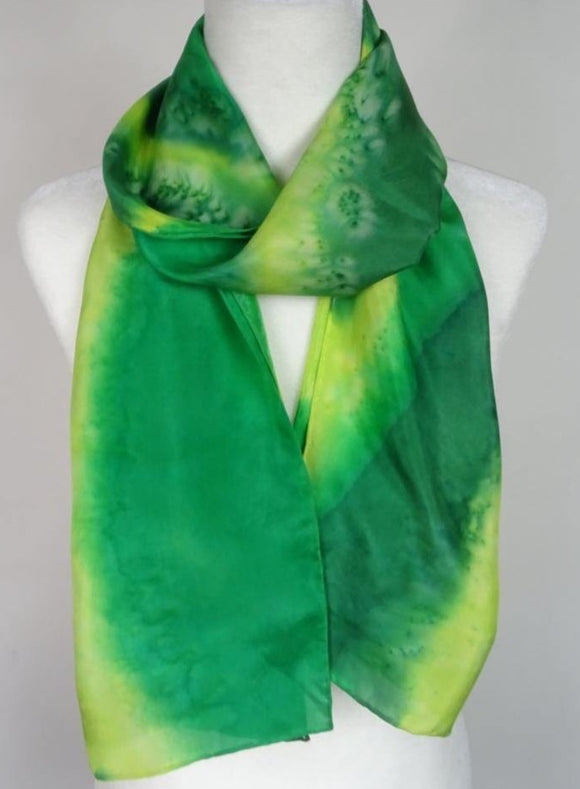 Green and Lime, Two Tone Hand Painted Silk Scarf