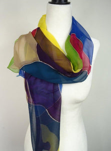 Multi color Hand Painted Chiffon silk scarf, in Fuchsia, Blue, Green and Gold