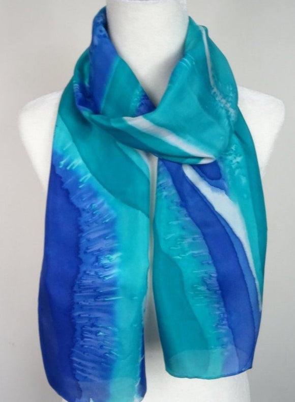 Aqua and Sapphire blue, Two Tone Hand Painted Silk Scarf