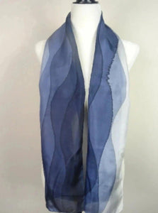 Hand Painted Navy Blue Ombre Silk Scarf.
