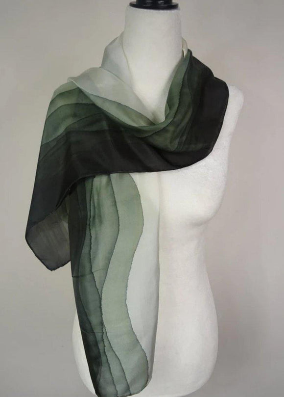 Olive Green Ombre Hand Painted Silk Scarf