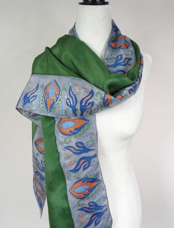 Oriental Motif in Blue, Green and Gray Hand Painted Silk Scarf