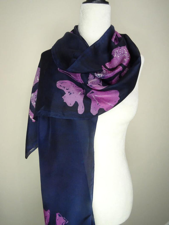 Hand Painted Pink and Blue Floral Batik Silk Scarf