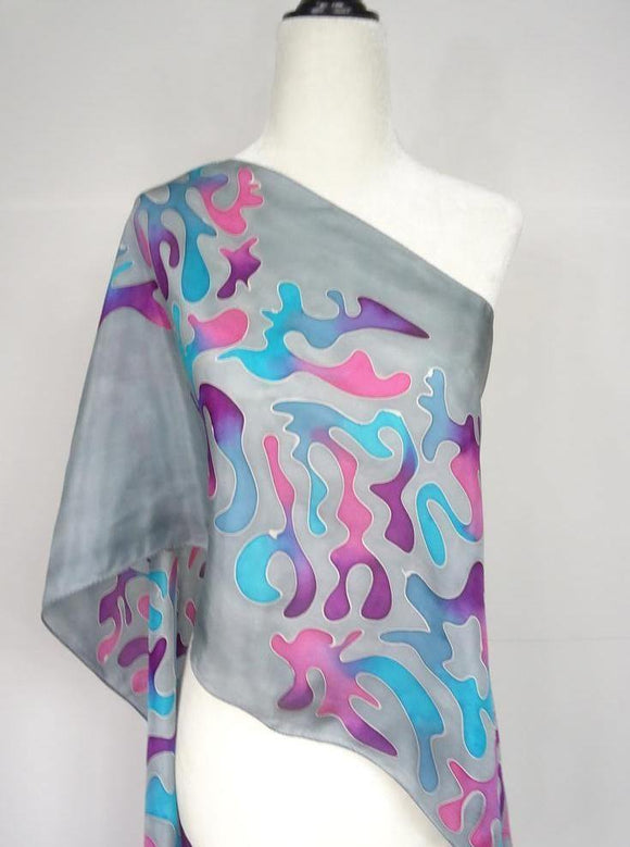 Hand painted silk scarf, in purple, fuchsia, blue and turquoise