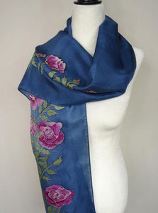 Hand Painted Pink Roses Silk Scarf. Pink and Blue Floral Silk Scarf