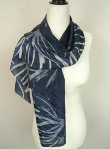 Hand Painted Navy Blue Batik Silk Scarf