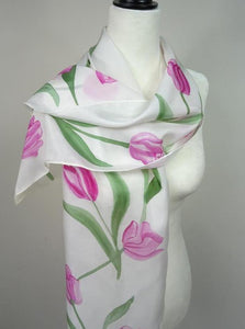 Hand Painted Pink Tulips Silk Scarf