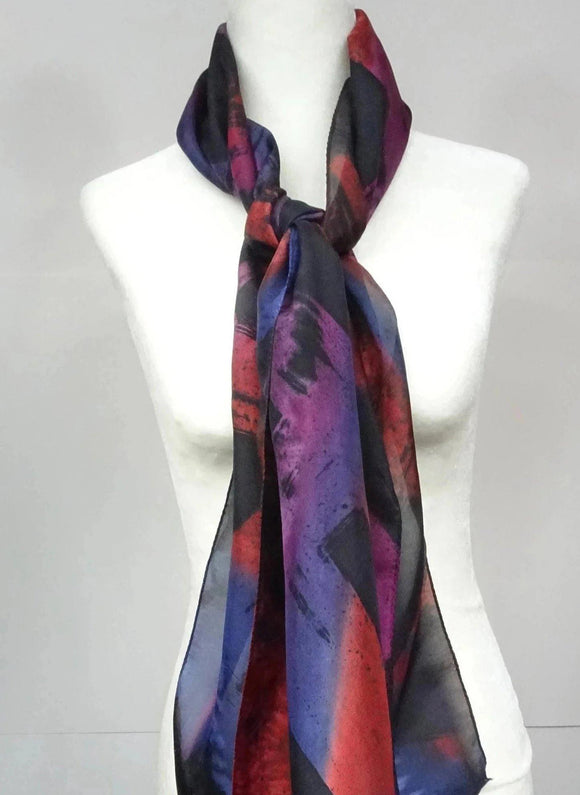 Multicolour Hand Painted Silk Scarf.