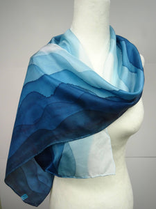 Hand Painted Teal Ombre Silk Scarf